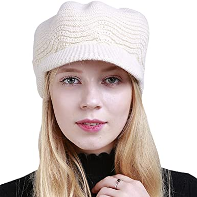BOZEVON Womens Knit Hat - Warm Winter Hats for Women - Ladies Girls Wool  Snow Ski 9fcad037bd65