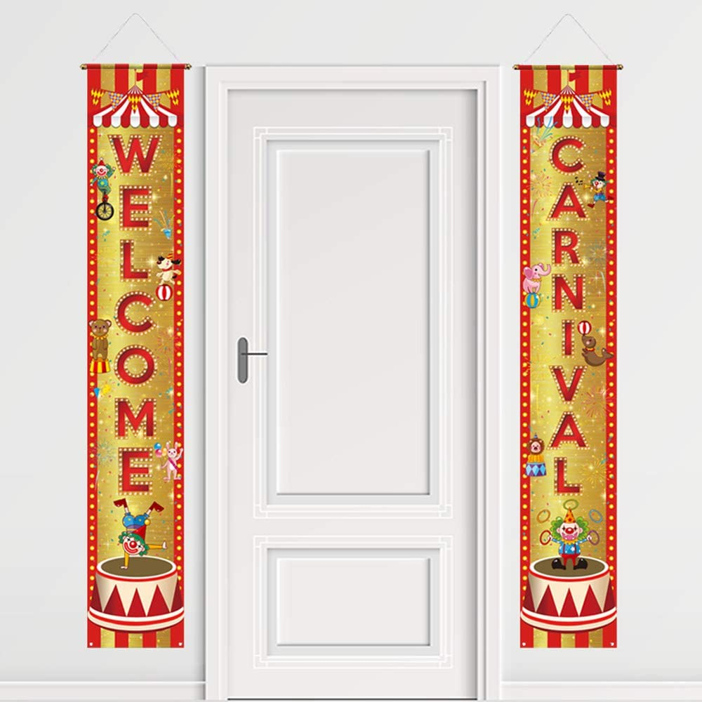 Funnytree Welcome Carnival Circus Theme Porch Sign Clown Golden Flag Outdoor Indoor Banner Polyester Backdrop Yard Wall Hanging Decors Windproof Home Birthday Party Events Background Supplies 2PCS