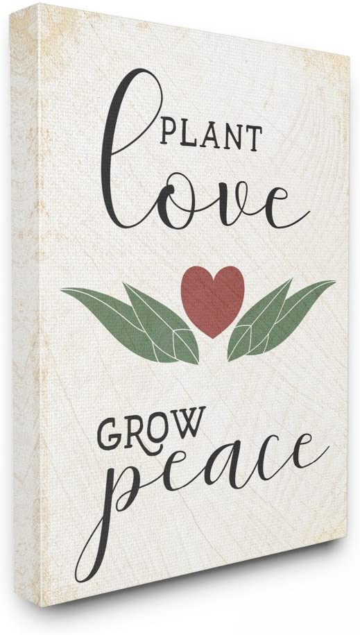 Stupell Industries Plant Love Grow Peace Heart and Leaves Canvas Wall Art, 24 x 30, Multi-Color