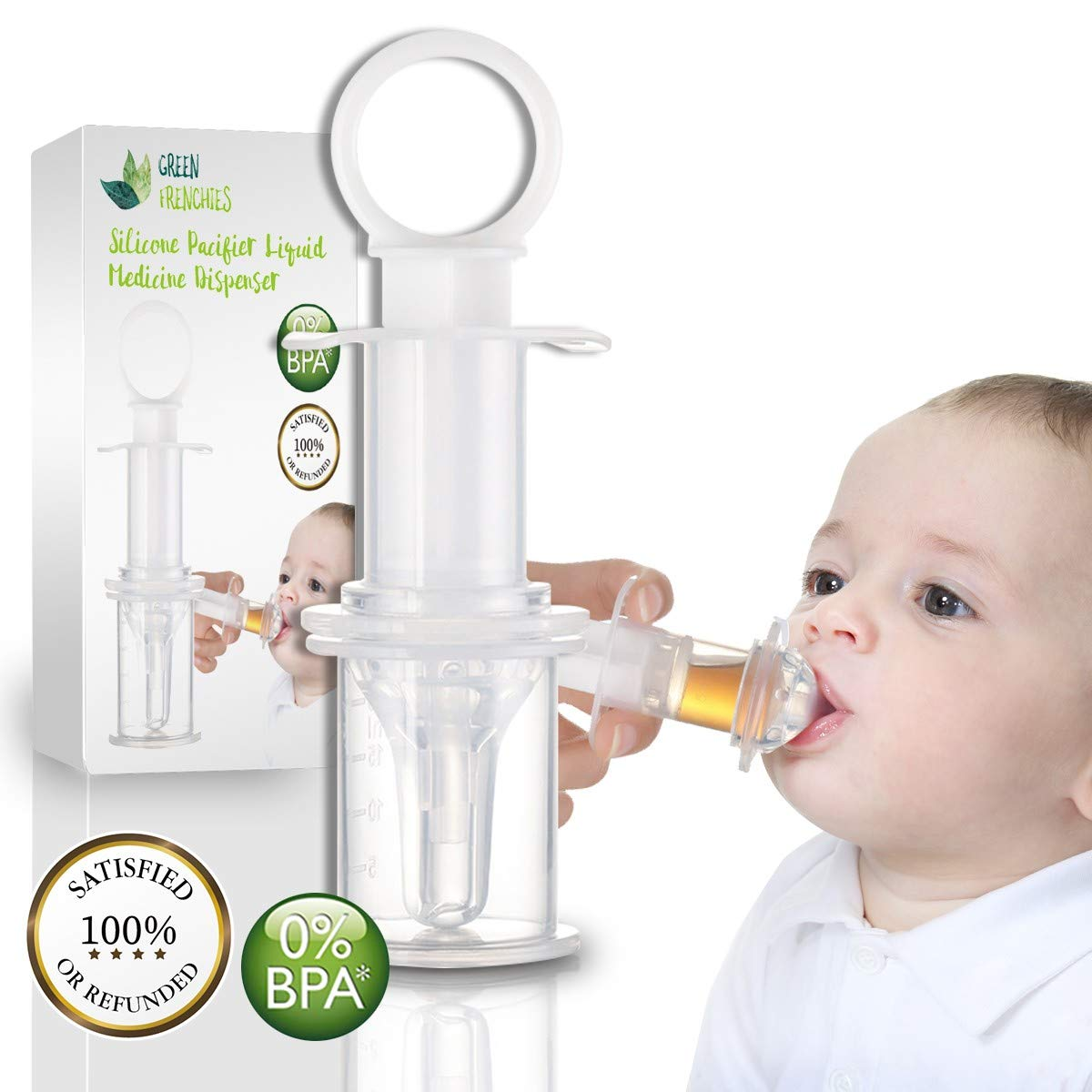 G.F. Pacifier Medicine Dispenser, Pacifier Liquid Medicine Dispenser, Toddler Oral Medicine Syringe with Box, Feeding medicator by Green Frenchies