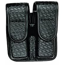 Bianchi 7902 PLN Black Double Mag Pouch with Hidden Snap Closure (Size 1)