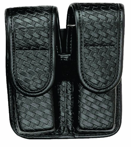 Bianchi 7902 BSK Black Double Mag Pouch with Hidden Snap Closure (Size 4)