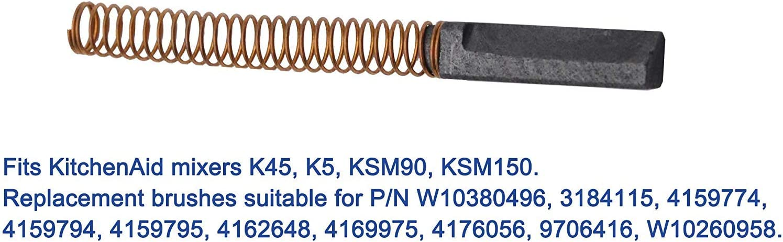 W10380496 9706416 Passend Kitcheniad 5KPM50 5KSM150 Plai Kohleb/ürsten Motorkohlen Schleifkohlen f/ür 4.5 und 5 Quart KitchenAid Stand Mixer