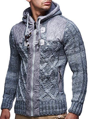 LEIF NELSON LN20525 Men's Knit Zip-up Jacket With Geometric Patterns and Leather Accents, US L, Grey (Pattern Leather Jacket)