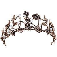 Sanwooden Elegant Crown Headwear Vintage Flower Faux Pearl Inlaid Bride Tiara Headwear Crown Jewelry Photo Prop Hair Ornaments