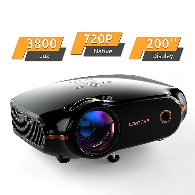 Proyector, Crenova Proyector Mini Portátil Proyector Cine en Casa con Lúmenes 3800, Resolución Nativa 720P, Soporte Full HD 1080p, Compatible con HDMI/USB/Tarjeta SD/VGA/AV/TV Box (Negro)