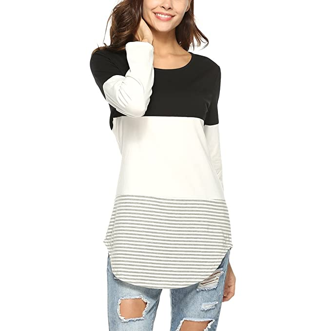 c1e962ff991af Amazon.com: Oliveya Women's Casual Triple Long Sleeve Stripe Color ...