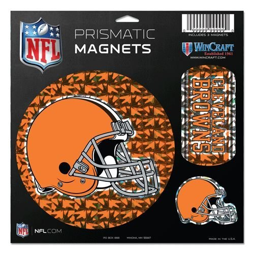 WinCraft NFL Cleveland Browns Prismatic Magnets Sheet, 11''x11'', Team Color by WinCraft