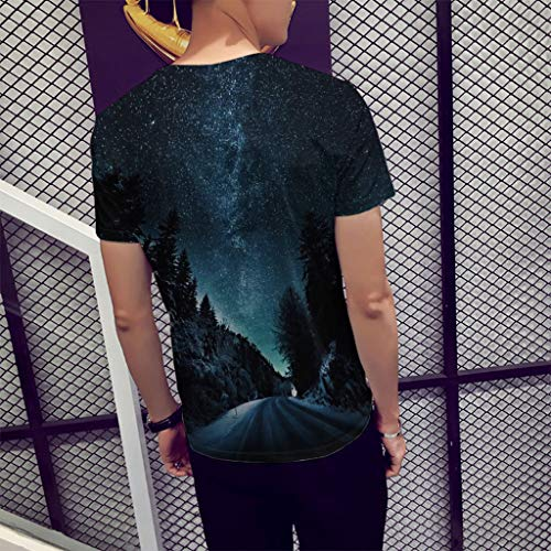 Pervobs Fashion Mens Causal Basic Short Sleeve 3D Print Crew Neck Regular Fit Tee Shirt Blouse T-Shirt Tops(L, Black B) by Pervobs Mens T-Shirts (Image #3)