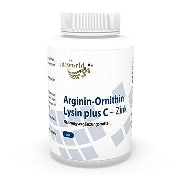 Arginina - Ornitina - Lisina + Vitamina C & Zinc 60 Cápsulas Vita World Farmacia Alemania