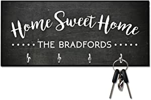 Personalized Chalkboard Look Home Sweet Home Key Hanger