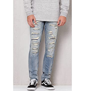 a7738e0c228d2 Pacsun Mens Stacked Skinny Ripped Light Wash Stretch Jeans at Amazon ...
