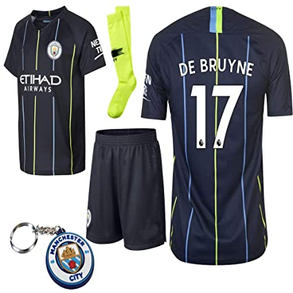 uk availability 65e4f 474d9 Manchester City 2018 19 Replica Aguero Kevin De Bruyne Kid Jersey Kit :  Shirt, Short, Socks, Bag, Key Chain