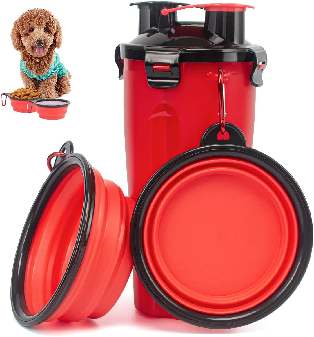 Esing Dog Water Bottles W/Bowls Pet Portable Drinking Bottle Puppy Travel Dispenser Doggie Kettle Kittens Feeding Cup W/Food Container (Red)
