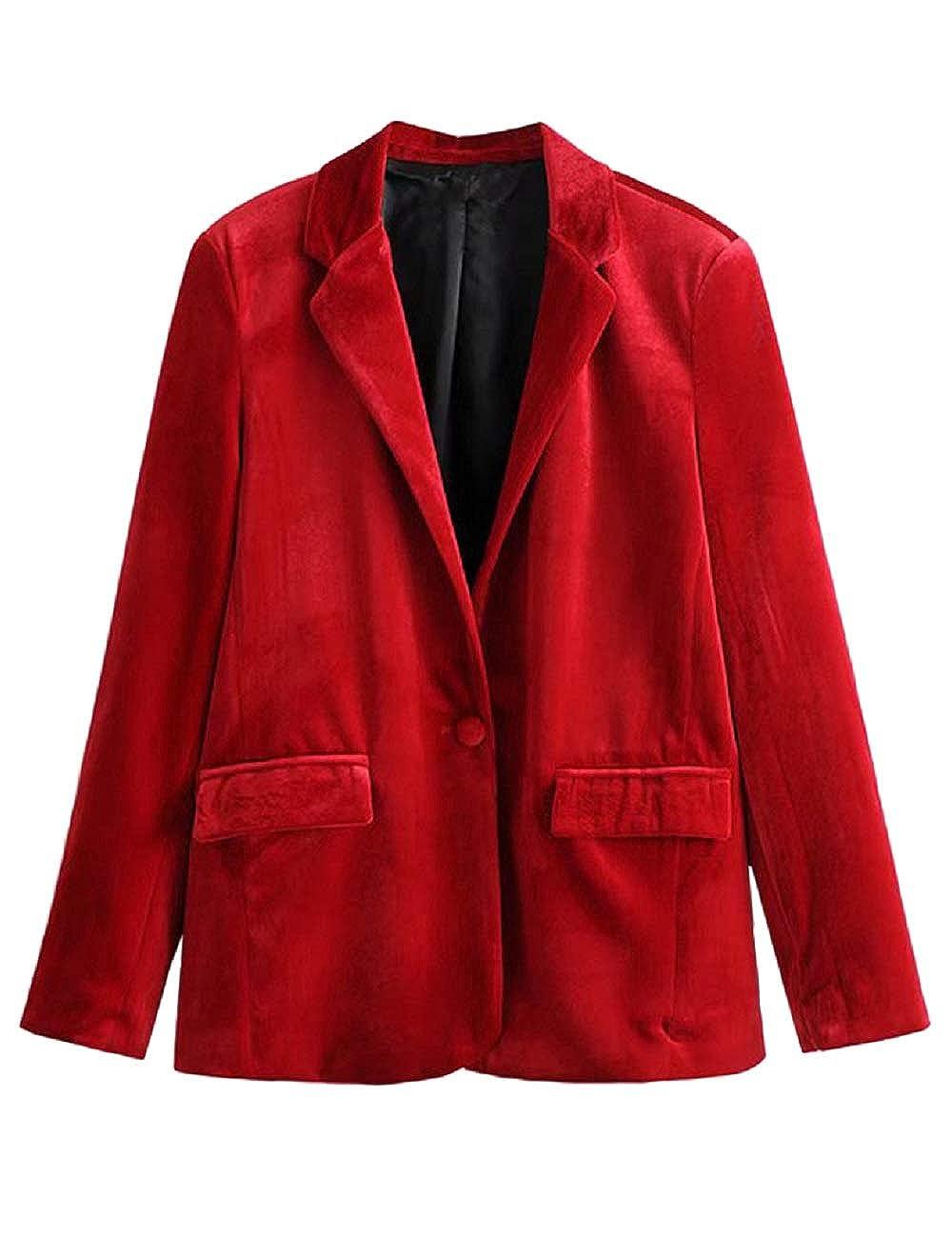SEBOWEL Donna Un Pulsante Velluto Giacca Slim Fit Casual Blazer Jacket Suit