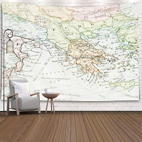 Gesmatic Living Room Tapestry, 80X60 Inches Wall Hanging Large Style Vintage Map Europe Asia Copyrighted Expired Traditional Tapestry Multicolor Pattern Printed,Orange Green
