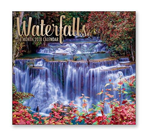 16 Month Wall Calendar 2018各月表示フルカラー写真。2017 – 2018年計画カレンダー  Waterfalls B073RSMV25