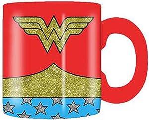 Silver Buffalo Wonder Woman Uniform Ceramic Coffee Mug, 14-Ounce