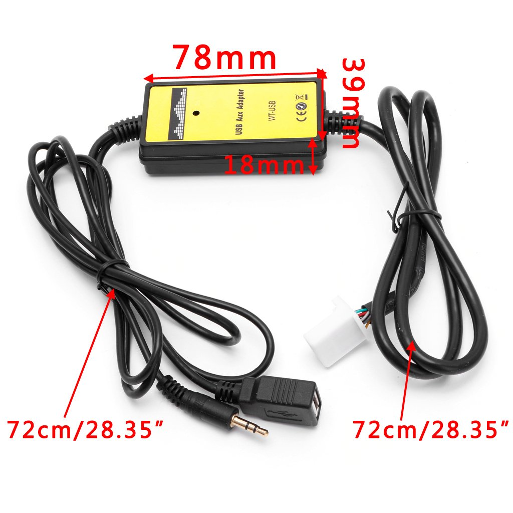 Kanitry CD-Changer,Auto-Audio-CD-Adapter Changer MP3 Interface AUX SD USB Datenkabel 2x6-Pin f/ür Toyota Camry Corolla Matrix