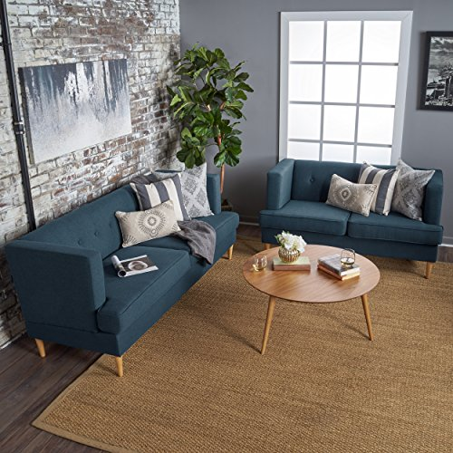 Christopher Knight Home McKinley Mid Century Modern Navy Blue Fabric Sofa and Loveseat Set