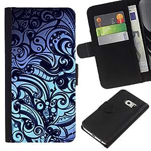 YiPhone /// Tirón de la caja Cartera de cuero con ranuras para tarjetas - Floral Modelo abstracto - Samsung Galaxy S6 EDGE