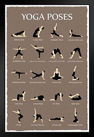 Yoga Poses Reference Chart Studio Gray Black Wood Framed Poster 14x20