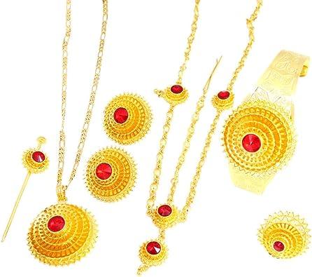 Äthiopische Gold Haar Stück Anhänger Kette Ohrringe Ring