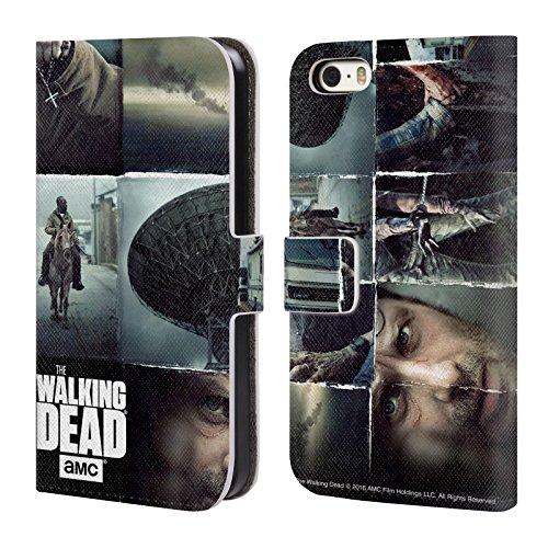 Officiel AMC The Walking Dead Indexez Art Vertical Logo Étui Coque De Livre En Cuir Pour Apple iPhone 5 / 5s / SE