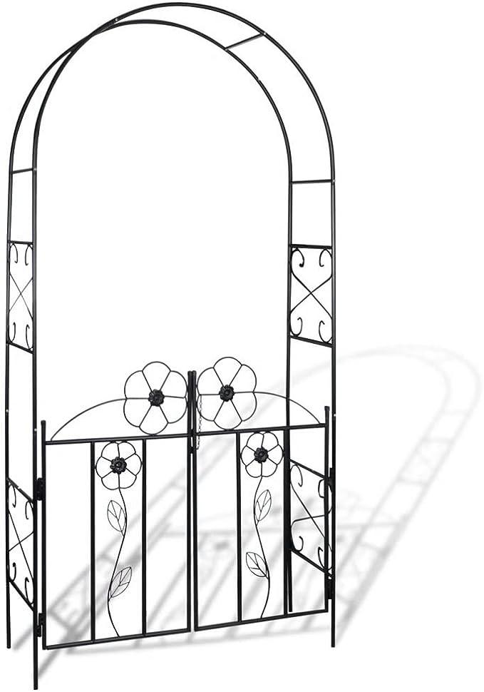 lingjiu Shopping Puerta para jardín de rosas Arco enrejado rosens?ULE pérgola material: hierro color: negro: Amazon.es: Jardín