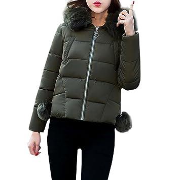 Abrigos de mujer Invierno Plumas, LILICAT Invierno más delgado abrigo delgado con sombrero, Ropa de abrigo Chaqueta Cremallera Elegante (XL, ...