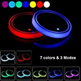 LED Cup Holder Lights, 2pcs LED Car Coasters with 7 Colors Luminescent Light Cup Pad, USB Charging Cup Mat for Drink Coaster
