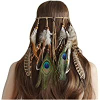 Tuffinno Indiana Peacock Feather Headband Weave Bohemia Adjustable Fashion Headdress Party Headwear Hair Styling Accessories for Girls Women
