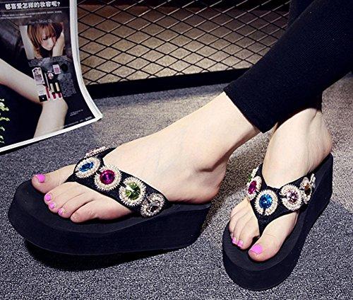 Easemax Femme Chaussure Mules Plage Noir de Flop Flip Chic SSzxrdg