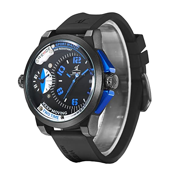 WEIDE hombres dual zonas horarias militar deportes relojes hombres de cuarzo hora reloj macho Casual reloj de pulsera: Amazon.es: Relojes
