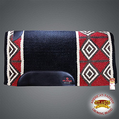 HILASON Western New Zealand Wool Saddle Blanket Horse Rodeo Black Crimson Brown