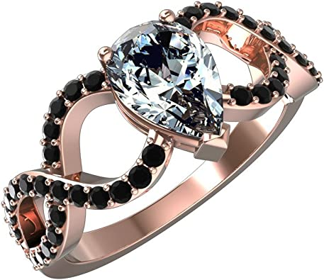 Jewelsforum 10k Rose Gold Pear Cut Solitaire Diamond Engagement Ring With 1 2 Carat White Diamond And 0 25 Ct Black Diamond Accents Amazon Com