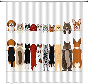 BOYIAN Dog and Cat Shower Curtain Decor Multicultural Dog Cat Family in Row from Back Front Views Comic Fabric Bath Curtains Bathroom Polyester with Plastic Hooks 70x70Inch