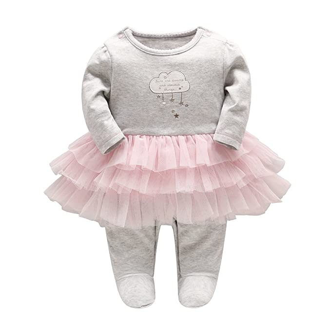 06626a973fb5 Amazon.com  TTKA Baby Newborn Baby Girl Romper Long Sleeves Jumpsuit ...