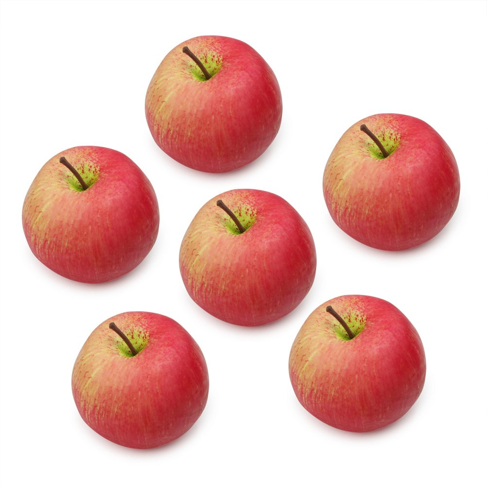 6 pcs Realistic Artificial Red Apples Decorative Fake Ornamental Fruit Craft ReFaXi