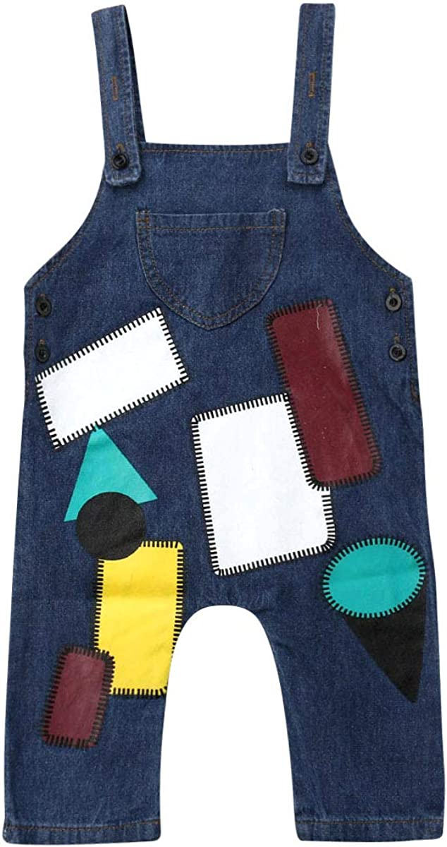 CQHY MALL Toddler Baby Boys Girls Bib Overalls Cute Splicing Stitches Jeans Jumpsuit Demin Pants Clothes Outfits