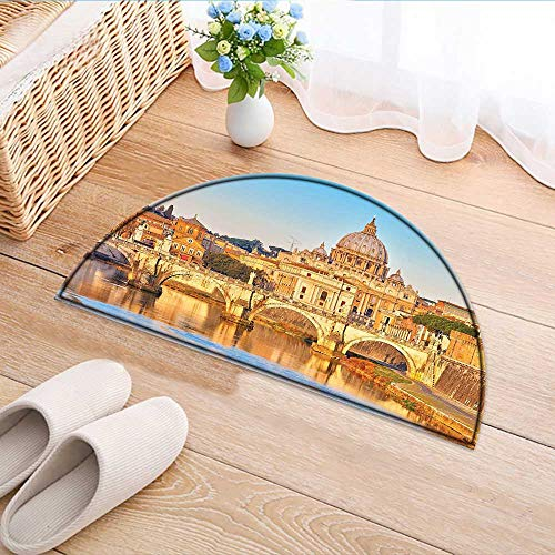 Tiber Collection - Semicircle Area Rug Carpet Collection Tiber and St Peter Landmark Monument Sunny Touristic Travel Destination View Print Door mat Indoors Bathroom Mats Non Slip W59 x H35 INCH