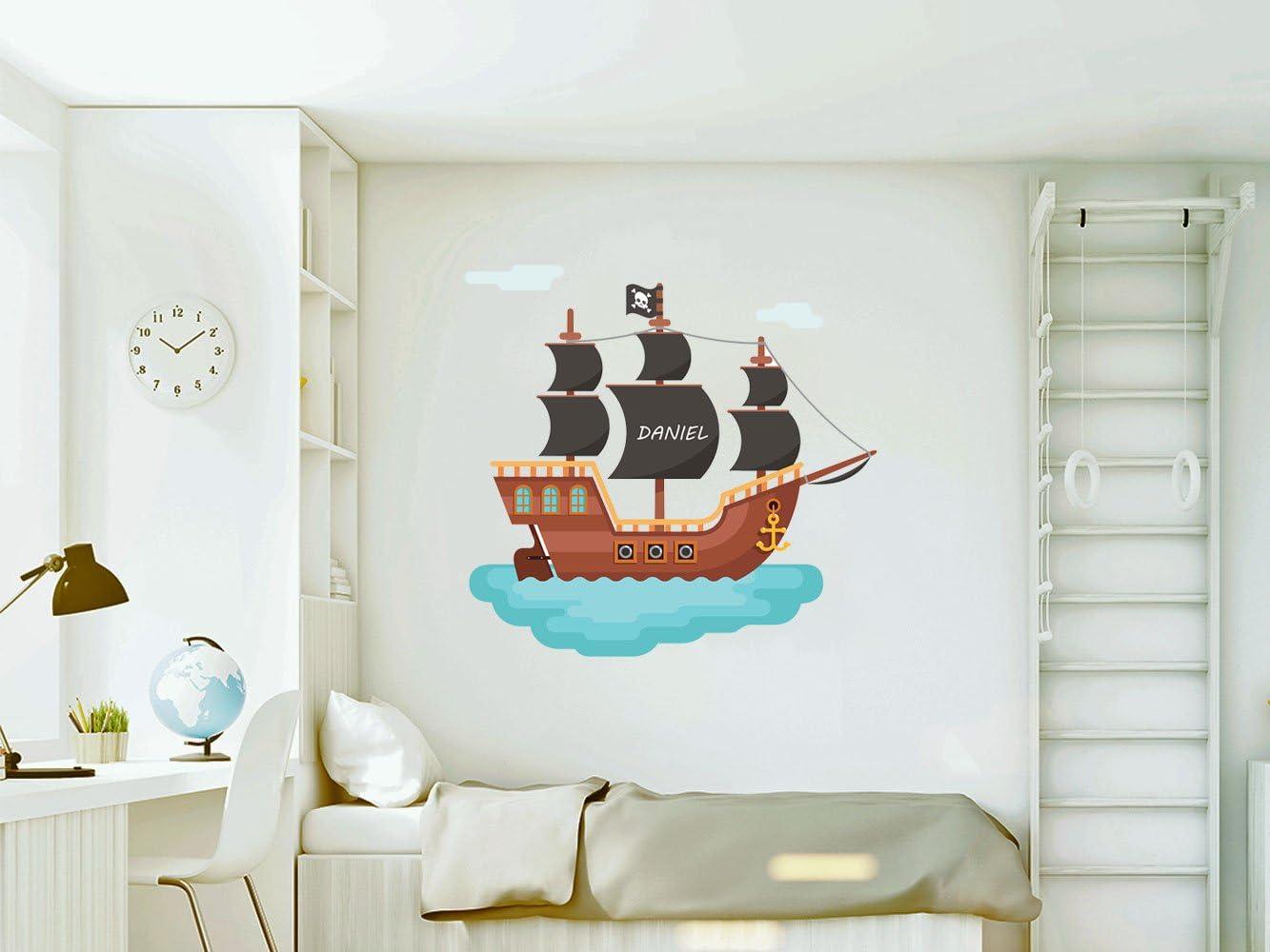 Vinilo Decorativo Pared Infantil | Barco Pirata Personalizado | Varias Medidas 100x100cm | Adhesivo Resistente y de Facil Aplicación | Multicolor | Pegatina Adhesiva Decorativa de Diseño Elegante: Amazon.es: Hogar