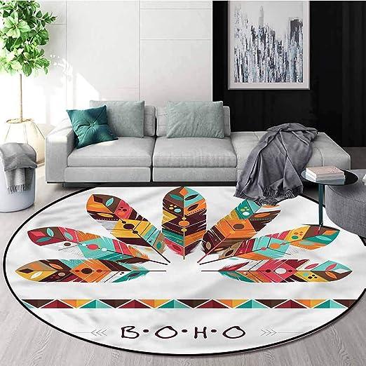 Purple Yoga Mat Maple Leaf Round Area Rugs Bedroom Floor Rugs Anti-Slip Carpet