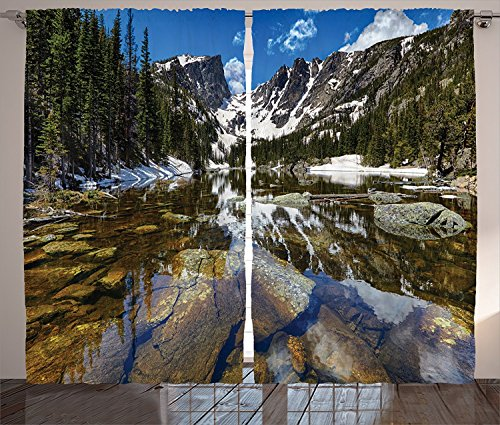 [Lake House Decor Curtains 2 Panel Set Dream Mirroring Lake at the Mountain Park in West America River Snow Away Photo Living Room Bedroom Decor Green Brown Blue,Size:2 x 27.50