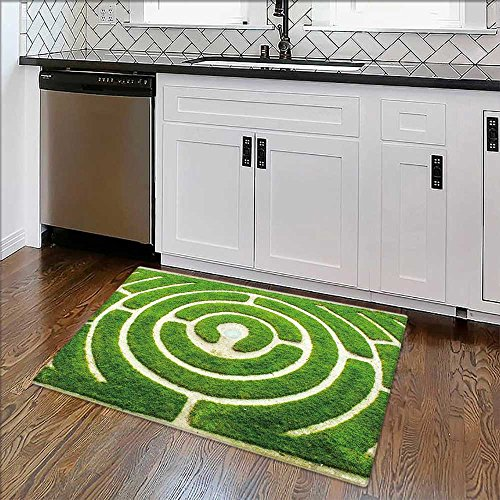 (Soft Non Slip Absorbent Bath Rugs Chartres Circular labyrinth in a garden Machine Washable Large Mats Materials W35