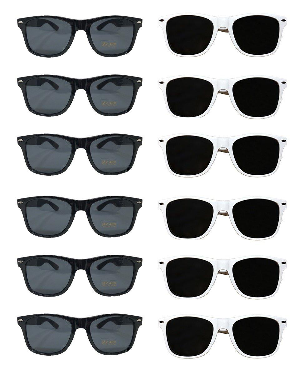 White Black Wayfarer Sunglasses Bulk Wholesale Party Pack-48-24 White 24 Black Premium Quality Plastic-Wholesale Bulk Kids Adults Women Men from TheGag
