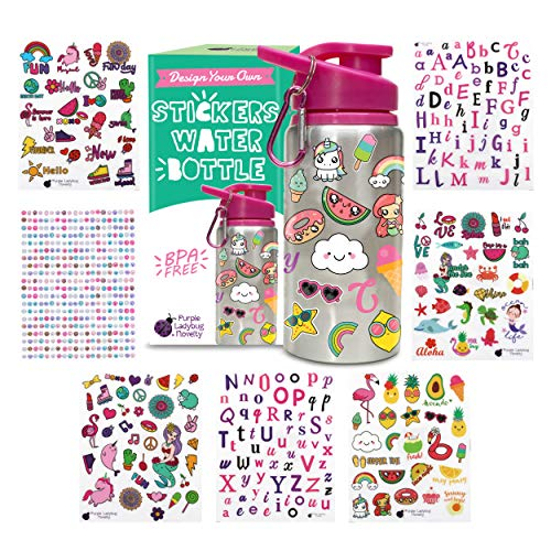 Decorate & Personalize Your Own Water Bottle for Girls with Tons of Fun On-trend Stickers! BPA Free 20 oz Kids Water Bottle! Cute & Creative Gift Idea for Girl, Fun DIY Art and Craft KIt for Children (For Old Christmas Ideas Girl 8 Year)