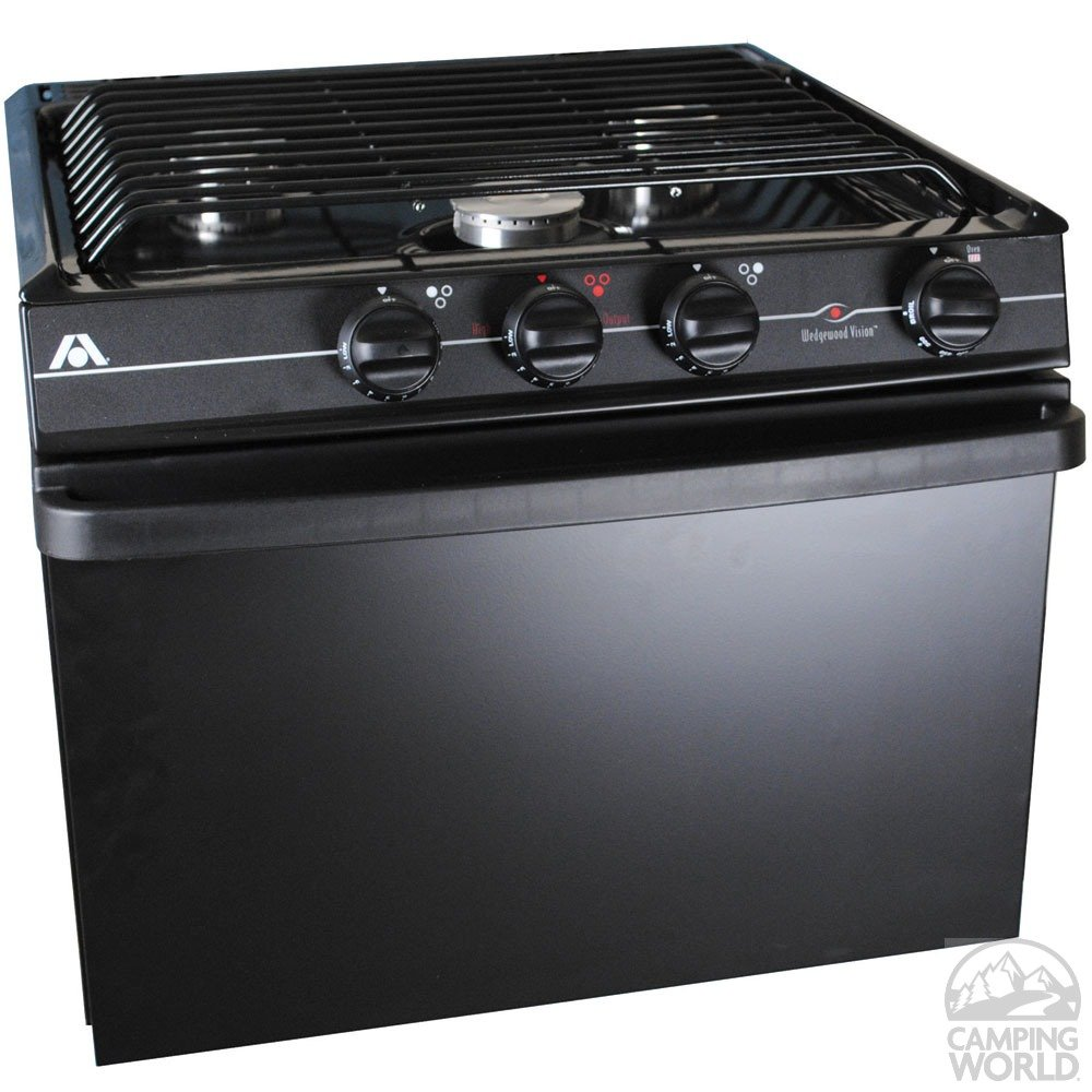 "Atwood Mobile Products 52373 Wedgewood Black 17"" Piezo Oven Range 3 Burner"