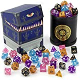 Wiz Dice Cup of Wonder: 5 Sets of 7 Premium Glitter Polyhedral Role Playing Gaming Dice for Tabletop RPGs with Black Bicast Leather Dice Cup by