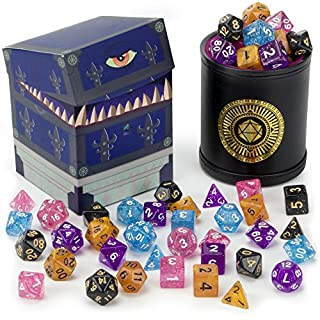 Wiz Dice Cup of Wonder: 5 Sets of 7 Premium Glitter Polyhedral Role Playing Gaming Dice for Tabletop RPGs with Black Bicast Leather Dice Cup